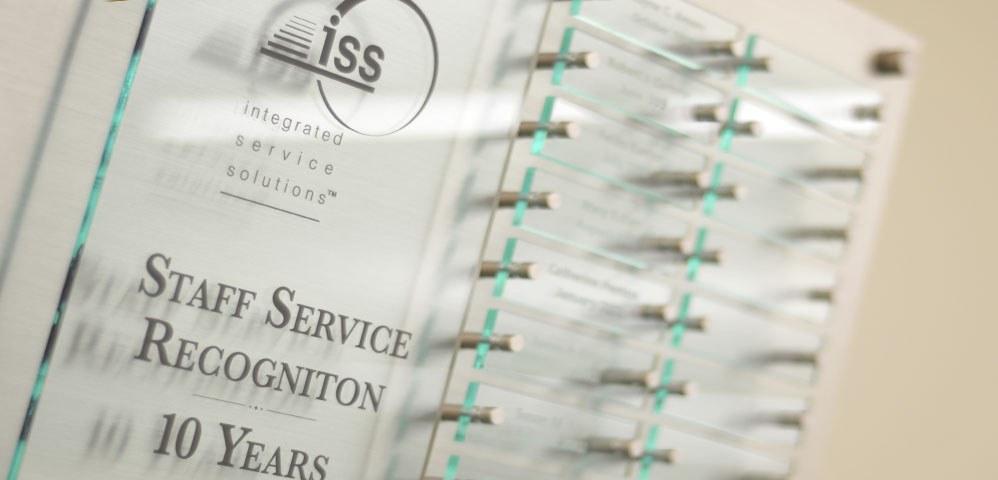 ISS Staff Service Recognition Plaque